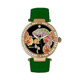 Bertha Camilla Mother-Of-Pearl läder-Band Watch - grön