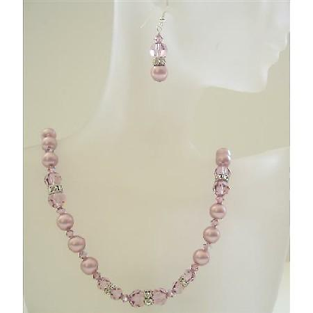 Powder Rose Pearls Jewelry w/ Amethyst Swarovsk Crystals Wedding Party Handcrafted Necklace Set