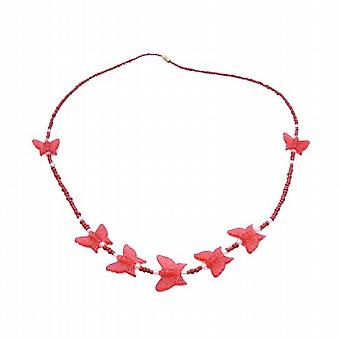 Butterfly Necklace For Children Bright Red Necklace & Butterfly Beads