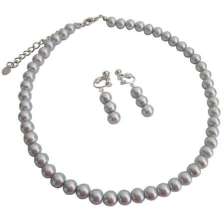 Perfect Clip On Earrings for Anyone In Silver Gray Pearls