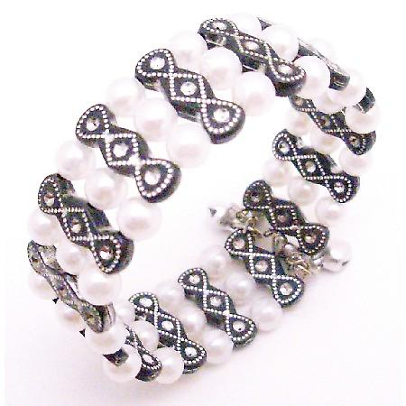 Black & White Pearls Cute Cuff Bracelet Jewelry Gift