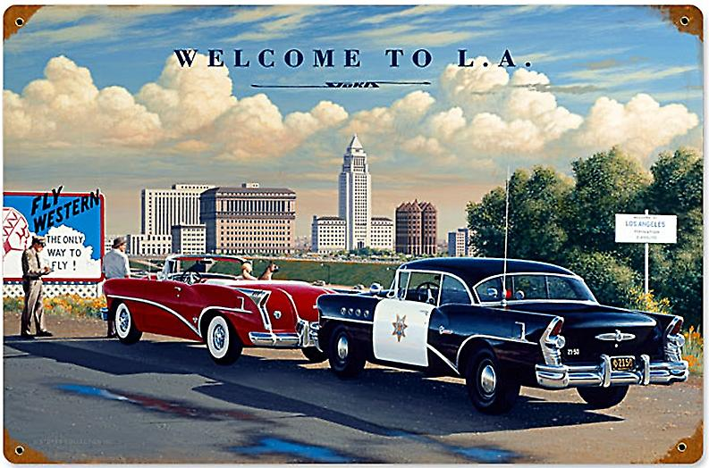 Welcome to LA (Stan Stokes) rusted metal sign (pst 1812)