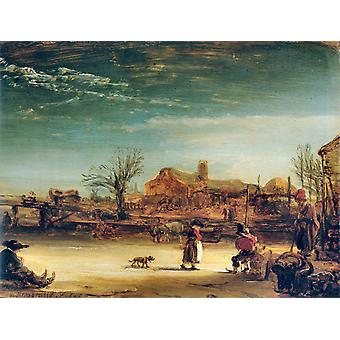 Winter Landschaft, Rembrandt, 50x38cm