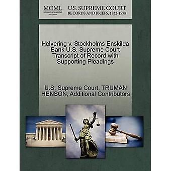Helvering v. Stockholms Enskilda Bank U.S. Supreme Court Transcript of Record with Supporting Pleadings by U.S. Supreme Court