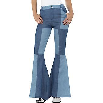 Huelga pantalones años 60 pantalones de las señoras de años para damas jeans de patchwork