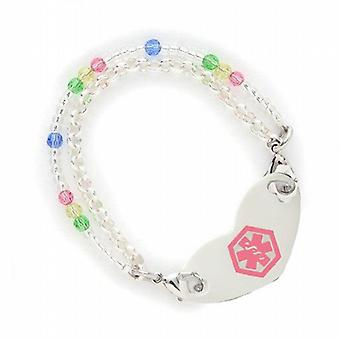 Fashion Alert Medical S.Steel ID Tag 7.5 Inch 2 Stranded Colourful Bead Bracelet