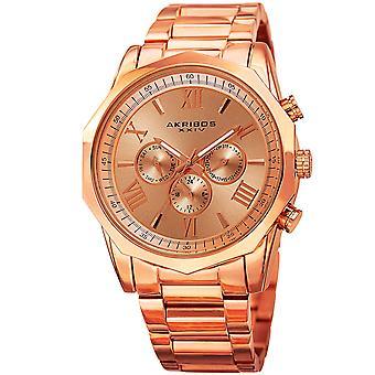 Akribos XXIV AK940RG Two Time Zone Dodecagonal Steel Bracelet Watch