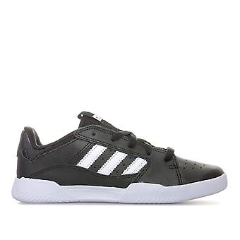 Children Boys adidas Vrx Low Trainers In Black White- Lace Fastening- Cushioned