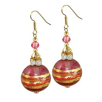Eternal Collection Focale Ruby Murano Glass Gold Tone Drop Drop Pierced Earrings