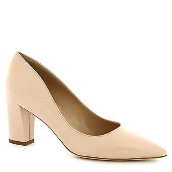 Leonardo skor kvinnors handgjorda Mid Heel pumpar skor pulver rosa Napa läder