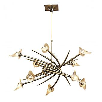 Mantra Flavia Pendant Up-Down Round 10 Light G9, Antiques Brass