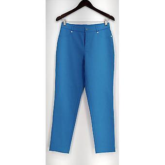 Isaac Mizrahi Live! Regular Ponte Knit Ankle Pants Blue A260963