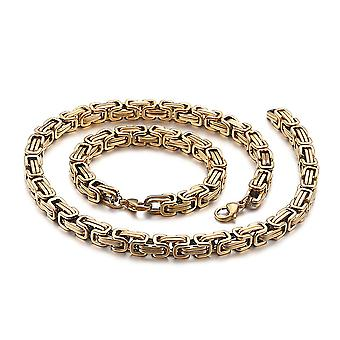 5mm royal chain bracelet men's necklace men's chain necklace, 21cm gold stainless steel chains