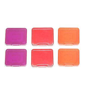 Tough plastic case holder covers for sd sdhc & micro sd memory cards - 6 pack purple, red & orange