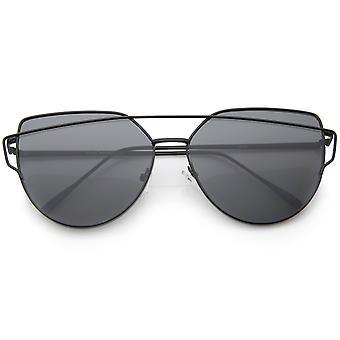 Oversize Metal Frame Thin Temple Flat Lens Aviator Sunglasses 62mm