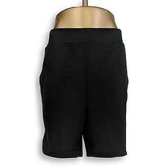 Denim & Co. Women's Shorts French Terry Pull-On Black A351341