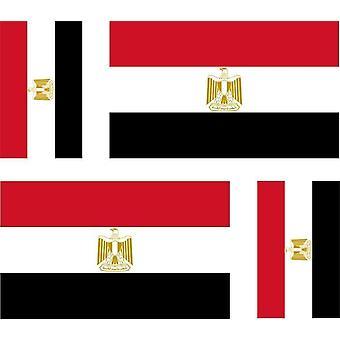 4 X Autocollant Sticker Voiture Moto Valise Pc Portable Drapeau Egypte Egyptien