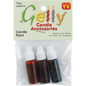 Gelly Candle Dye Assortment 1 Ounce Bottle 3 Pkg Violet, Turquoise, Melon 33217
