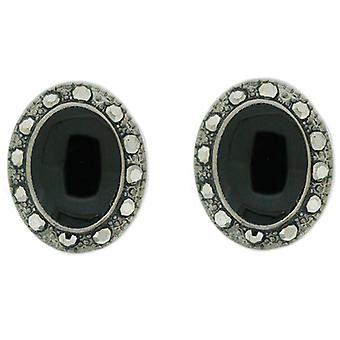 Clip On Earrings Store Glossy Black Bead and Hematite Crystal Oval Clip on Earrings