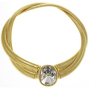 Kenneth Jay Lane Gold Plated & Crystal Stobe Double Necklace