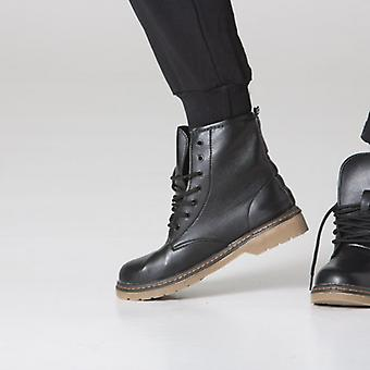 Polar whites black faux leather lace up worker boots
