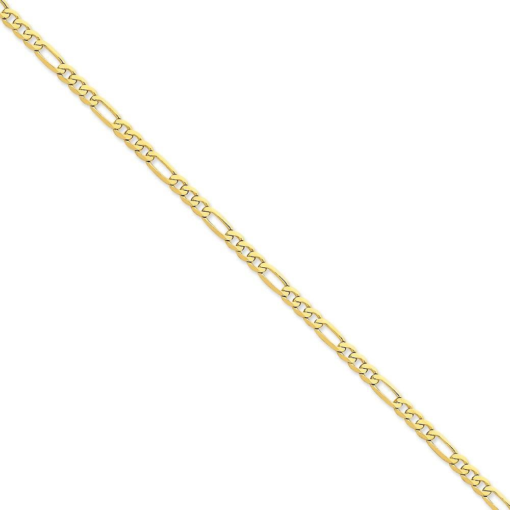 14k jaune or solide poli Lobster Claw Closure 4.7mm Flat Figaro chaîne Bracelet - Lobster Claw - longueur  7 to 8
