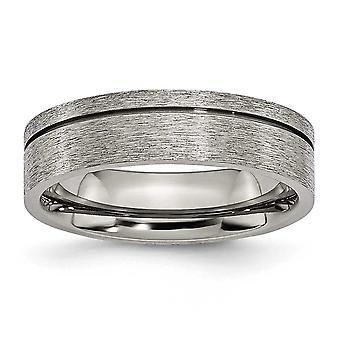 Titanio Engravable pulido y satinado acanalado 6mm satinado anillo de banda - tamaño del anillo: 6 a 13
