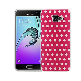 Cell phone case for Samsung Galaxy A3 2016 cover case protective bag motif slim silicone TPU polka dot pink