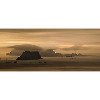 Vaeroy islands at cloudy sunset Lofoten Nordland Norway Poster Print