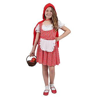 Storybook Red Riding Hood Girls Fancy Dress Costume With Dress, Apron & Cape
