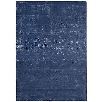 Distressed Windsor Blue Tribal Flatweave Rug 60 x 90  - Louis De Poortere