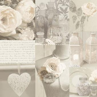 Roses Wallpaper Flowers Floral Love Hearts Typography Bouquet Pearls Beige White