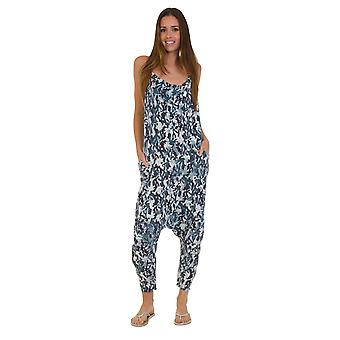 Jersey Jumpsuit - Camo Blue Drop Crotch Lightweight Stretch Relaxed Fit Playsuit