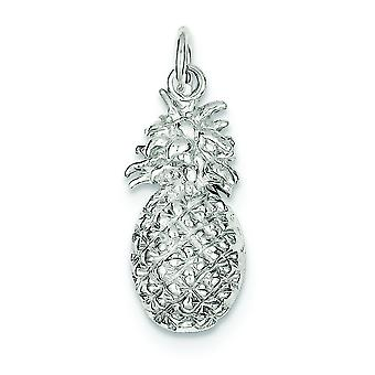 Sterling Silver Solid Polished Open back Pineapple Charm - 3.0 Grams