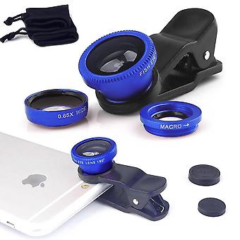 ONX3  (Gold) Mobile Phone Universal Camera Lens 3 in 1 Kit Wide Angle Lens + Fisheye Lens + Macro Lens with Clip-on 180 Degree For  HTC U Ultra