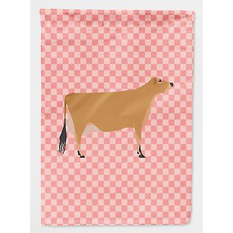 Carolines Treasures  BB7829GF Jersey Cow Pink Check Flag Garden Size