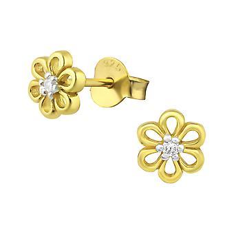 Flower - 925 Sterling Silver Cubic Zirconia Ear Studs