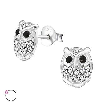Owl crystal from Swarovski® - 925 Sterling Silver Ear Studs