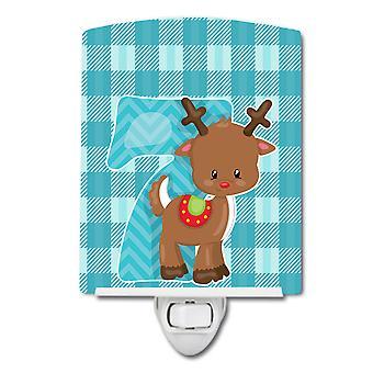 Carolines skatter BB8693CNL Christmas måned 7 reinsdyr keramiske nattlys