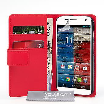 Yousave Zubehör Motorola Moto X Lederoptik Wallet Case - rot