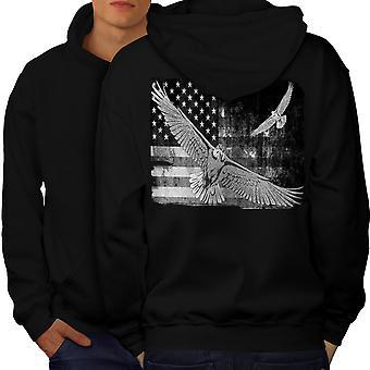 Amerikanske Flag land USA mænd BlackHoodie tilbage | Wellcoda