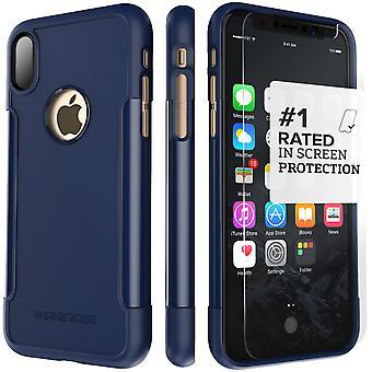 SaharaCase iPhone X Navy Case, Classic Protective Kit Bundle with ZeroDamage Tempered Glass