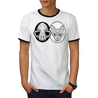 Schedel dierlijke metalen kat mannen wit / BlackRinger T-shirt | Wellcoda
