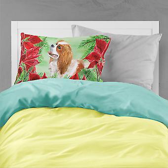 Cavalier Spaniel Poinsettas Fabric Standard Pillowcase
