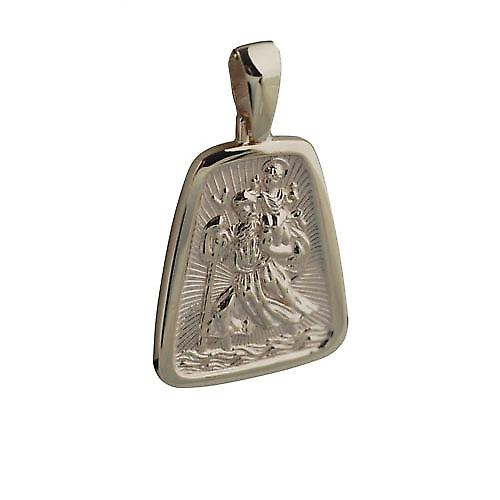 9ct Gold 31x25mm tapered rectangle St Christopher Pendant