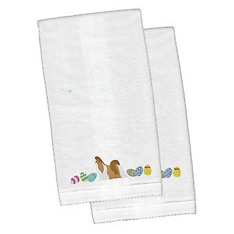 Shih Tzu Easter White Embroidered Plush Hand Towel Set of 2