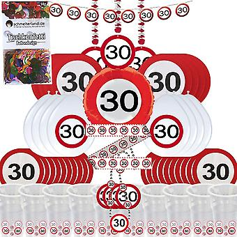 Party box 30 birthday 58-teilig Deco traffic sign party package