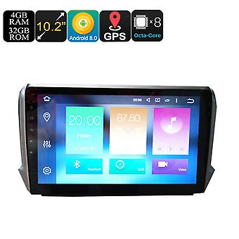 Peugeot One Din Car Stereo - 10.2 Inch Display, 4+32GB, Android 8.0, GPS, WiFi, 3G Support, CAN BUS, Octa-Core CPU, Bluetooth