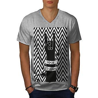 Rock Festival Art Music Men GreyV-Neck T-shirt   Wellcoda