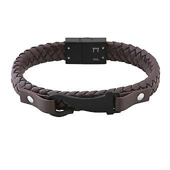 Burgmeister leather bracelet braided leather darkbrown with stainless steel clasp IP black, JBM1178-549